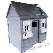 Детский деревянный домик для улицы Забава серый