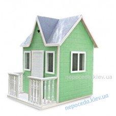 Дитячий дерев'яний будиночок для вулиці Веранда зелений