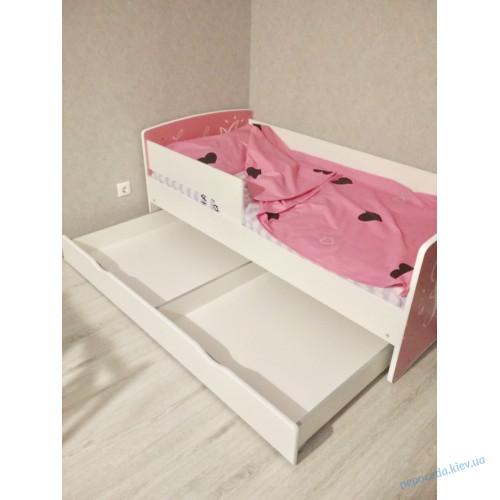 Ліжко для дівчинки Princess (біле з рожевим) з ящиком