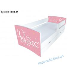 Кровать для девочки Princess (белая с розовым) с ящиком Kinder Cool