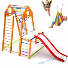 Детский комплекс с гамаком качелей BambinoWood Plus 1-1 для дома