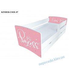 Ліжко для дівчинки Princess (біле з рожевим) з ящиком Kinder Cool