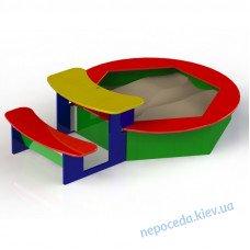 Песочница шестиугольная со столиком и лавочкой