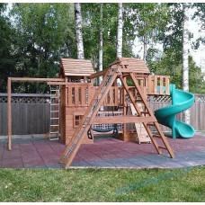 Детская площадка из дерева многобашенная с винтовым спуском Арт-Бастион