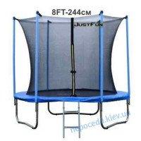Батут Just Fun 244 см Blue сітка внутрішня + драбинка