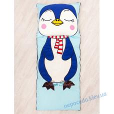 Плед-конверт с разъемной молнией Пингвин хлопковый (детям 2-10 лет)