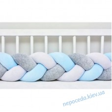 Бортик Косичка дитячий в ліжечко (сіро-блакитний)