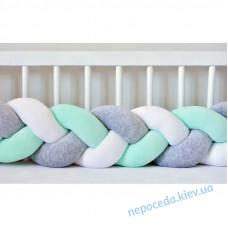 Бортик Косичка в ліжечко (сіро-м'ятний)