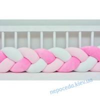 Бортик в ліжечко Косичка (рожевий c білим)
