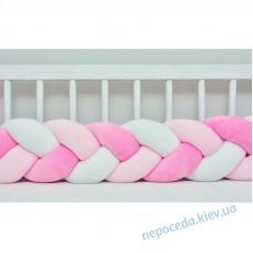 Бортик в кроватку Косичка (розовый c белым)