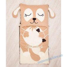 Спальный плед-конверт Щенок с разъемной молнией для детей (есть размеры)