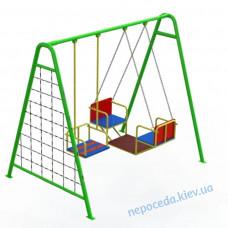 Детские качели с люлькой тройные зелёные