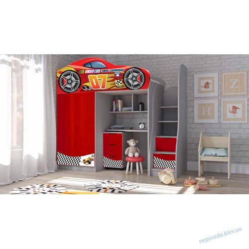 Кровать машина с мебелью №1 + комод