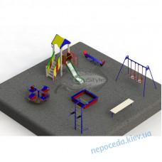 Детская площадка PG6 в наборе игрового оборудования и песочницы