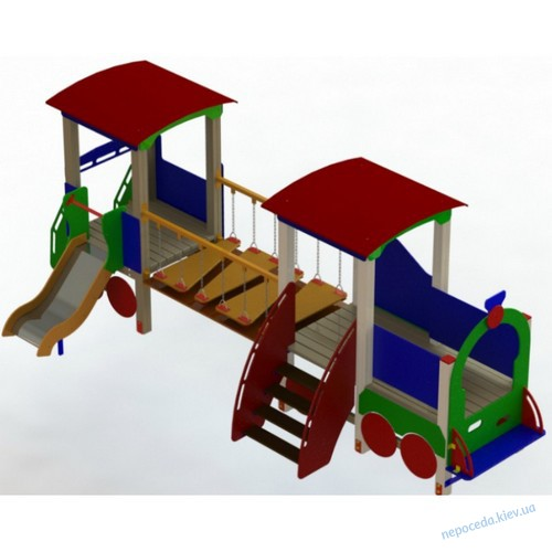 Детский игровой комплекс «Паровозик с вагончиком» на детскую площадку