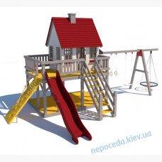 """Лаундж детский уличный комплекс с домиком и качелями на сваях """"Мечта"""""""