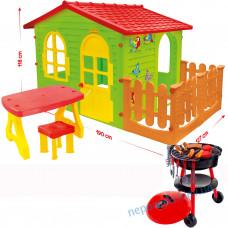 Будиночок XXL з огорожею і меблями + набір барбекю