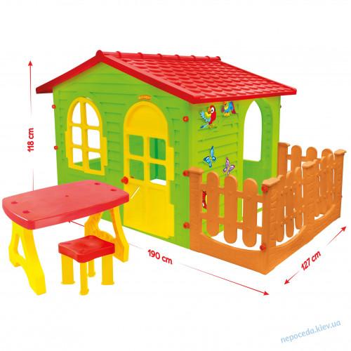 Домик XXL с заборчиком и мебелью + набор барбекю