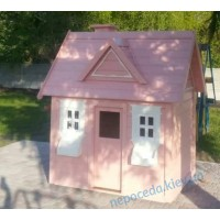 Деревянный игровой домик для детей Элли розовый уличный