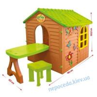 """Детский игровой домик """"Лесной коричневый +столик+стулик"""""""