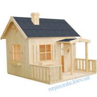 Деревянный домик для улицы с заборчиком
