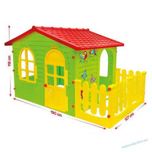 Игровой домик XXL с заборчиком + столик с лавками + горка 146 cм
