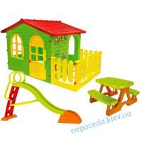 (3 в 1) Детский домик с заборчиком XXL + горка 180 см + столик для пикника