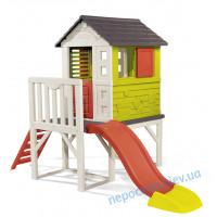 Детский игровой домик на сваях + горка пластиковая детская, балкончик 197см высо..
