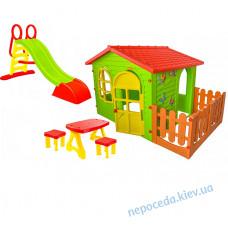 Игровой домик + горка + столик и табуретки