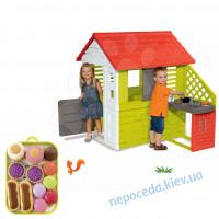 3-в-1  Домик для детей Smoby с летней кухней 127 cм + игровой набор пирожных на ..