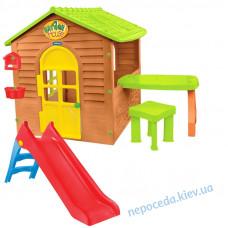 Игровой детский домик с горкой со столиком и табуреточкой