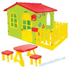 Игровой домик для детей XXL с заборчиком, столиком и табуретками