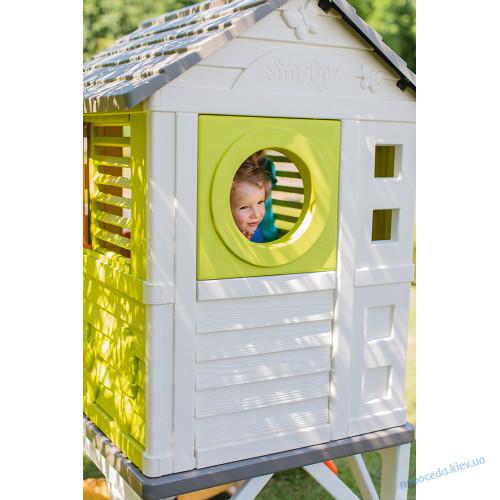 Пластиковый игровой домик на сваях + горка smoby детская