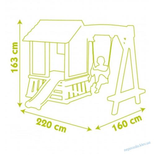 Великий котеджний будинок з гіркою і гойдалок 2в1