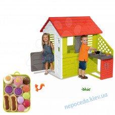 3-в-1  Домик для детей Smoby с летней кухней 127 cм + игровой набор пирожных на подносе