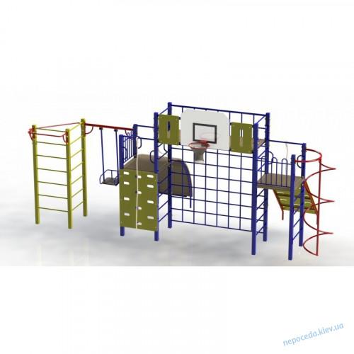 """Гимнастический комплекс для улицы """"Акробат-2"""". Площадка спортивная с баскетболом и качелей"""