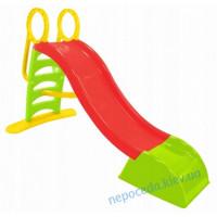 Горка детская пластиковая 180см красно-зеленая