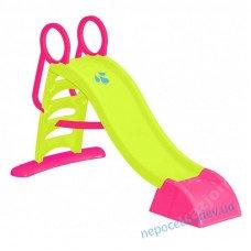 Пластиковая горка для детей 187см с лесенкой (малиновая)