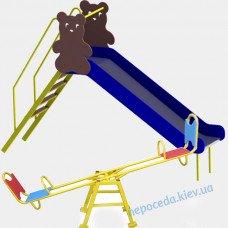 Дитяча гірка Ведмідь + гойдалки балансир 220см вулична