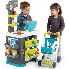Супермаркет Smoby с электронной кассой + тележка (34 аксессуара)