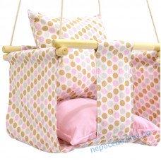 Дитяча гойдалка для будинку Кружочки рожева