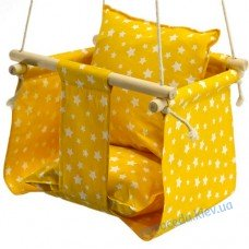 Дитяча гойдалка для будинку жовта Зірочки