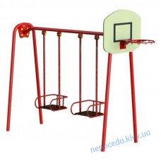 Дитячі гойдалки великі з баскетбольним кільцем