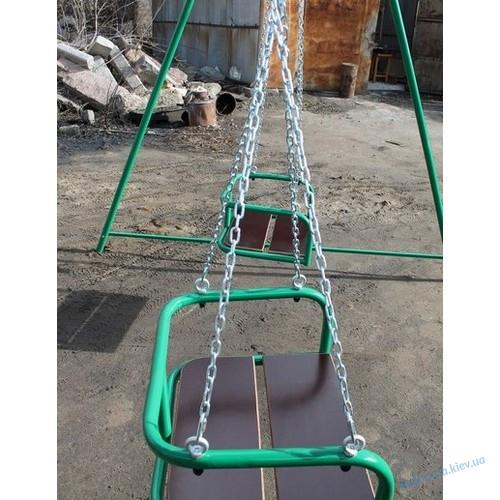Качели детские уличные подвесные на цепях двухместные 220см