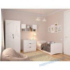 Детская комната FLY Гламур со шкафом кроватью полкой и комодом