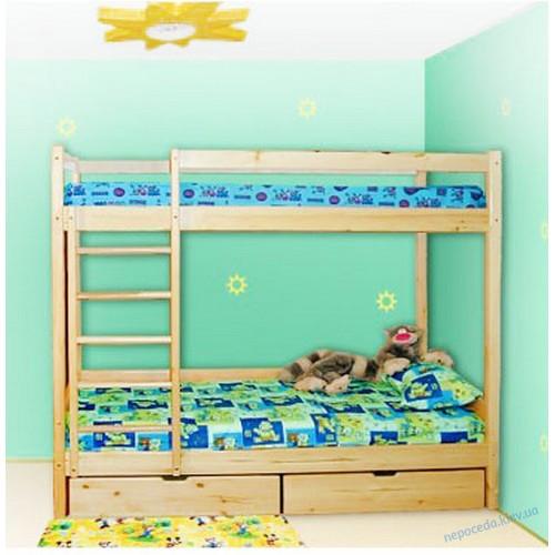 Двухъярусная кровать с ящиками 190см