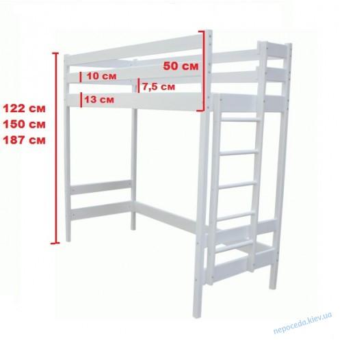 Кровать чердак 122см Умка белая (деревянная)