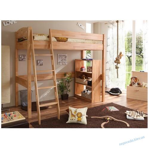 Детская кровать-чердак буковая с лестницей