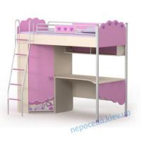 Кровать чердак со шкафом + стол Pink Pn-16-2 для девочки