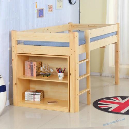 Подростковая кровать чердак с выдвижным столом и стеллажом